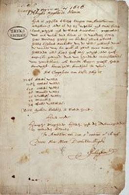 Pieter Schagen Letter