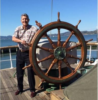 John at Ship Steering Wheel